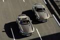 Картинка дорога, фон, скорость, Mercedes, красотки, Benz SLS AMG and Mercedes Benz SLS AMG roadster