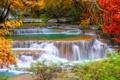 Картинка осень, лес, листья, деревья, водопад, красота, Таиланд