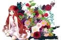 Картинка девушка, цветы, ягоды, бабочка, роза, аниме, арт