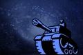 Картинка человек, танк, пушка, синий фон, танкист, tank