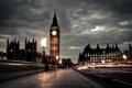 Картинка дорога, люди, пасмурно, Англия, Лондон, вечер, выдержка