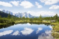 Картинка лес, горы, природа, озеро, елки, forest, мостик