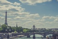 Картинка небо, облака, мост, Франция, Париж, Сена, Эйфелева башня