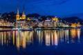 Картинка ночь, город, река, фото, дома, Швейцария, Luzern