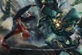 Картинка полет, робот, скорпион, spider man, Человек паук