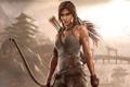 Картинка взгляд, волосы, Девушка, лук, Tomb Raider, Lara croft, Лара крофт
