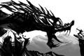 Картинка фантастика, скалы, дракон, человек, лук, арт, пасть