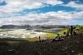 Картинка пейзаж, река, небо, поход, люди, горы, привал