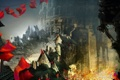 Картинка замок, город, дома, арт, фестиваль, Guild Wars, флаги