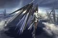 Картинка девушка, крылья, арт, меха, в небе, kikivi