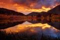 Картинка осень, закат, горы, озеро, зеркало