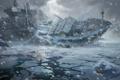 Картинка холод, лед, море, снег, люди, корабль, катастрофа