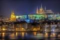 Картинка ночь, мост, город, река, Прага, Чехия, архитектура