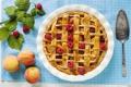 Картинка листья, ягоды, малина, яблоки, еда, пирог, посуда