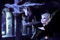 Картинка замок, магия, девушка, рога, дракон