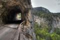 Картинка небо, деревья, горы, природа, скала, тоннель