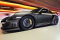 Картинка огни, черный, тюнинг, скорость, Porsche, размытость, суперкар