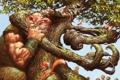 Картинка дерево, рисунок, борьба, великан, белки