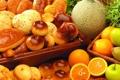 Картинка апельсины, фрукты, выпечка, дыня