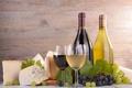 Картинка сыр, виноград, листики, красное вино, белое вино