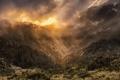 Картинка закат, горы, туман
