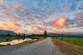 Картинка дорога, небо, облака, деревья, река, Canada, British Columbia