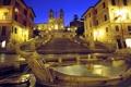 Картинка фонтан, ночь, башня, вечер, огни, испанская лестница, рим