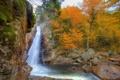 Картинка США, осень, New Hampshire, Glen Ellis, фото, водопад, природа