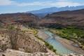 Картинка небо, облака, цветы, горы, река, скалы, каньон