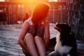 Картинка девушка, свет, настроение, собака