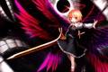Картинка девушка, улыбка, оружие, магия, крылья, меч, жест