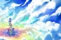 Картинка небо, облака, арт, девочка, Colors of the Sky