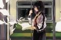 Картинка девушка, бумага, поезд, юбка, куртка, книга, art