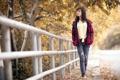 Картинка осень, девушка, улица