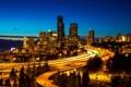 Картинка ночь, город, огни, США, небоскрёбы, улицы, Seattle