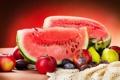 Картинка лето, яблоки, арбуз, фрукты, сливы, груши, ломтик