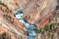 Картинка деревья, пейзаж, река, скалы, высота, поток, каньон
