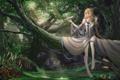 Картинка листья, девушка, свет, деревья, природа, самолет, аниме