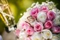 Картинка бокал, букет, розы, кольца, цветы