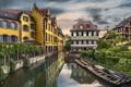 Картинка Франция, здания, лодки, канал, France, Colmar, Кольмар