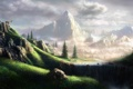 Картинка пейзаж, горы, водопад, Fel-X, козёл