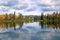 Картинка осень, лес, деревья, озеро, отражение, Canada, Yukon