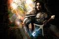 Картинка оружие, замок, молнии, меч, воин, арт, витраж