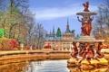 Картинка осень, небо, деревья, парк, фонтан, Испания, дворец