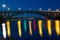 Картинка небо, мост, огни, отражение, река, дома