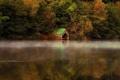Картинка гараж, река, природа, на воде, осень, озеро
