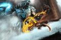 Картинка огонь, цепь, монстр, скалы, битва, холод, горы