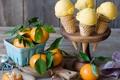 Картинка еда, food, sweet, dessert, мандарины, ice cream, oranges