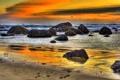 Картинка закат, пейзаж, пляж, небо, облака, природа, море