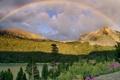 Картинка облака, деревья, цветы, горы, природа, радуга